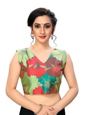green Women's Printed Cotton Blouse