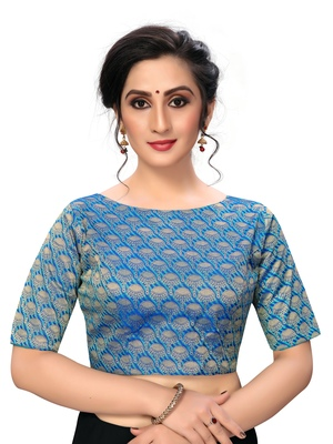 Blue Women's jacquard  Blouse
