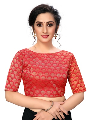 Red Women'S Jacquard  Blouse