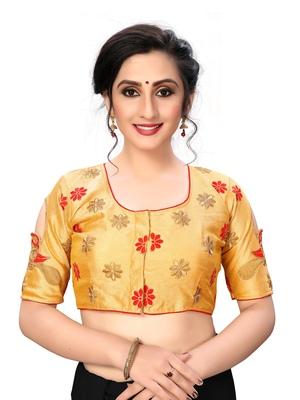 Beige Women's Embroiderey santoon Silk Blouse