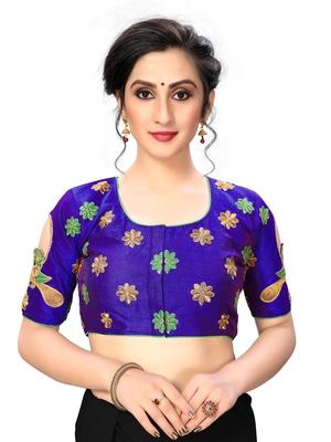 Blue Women's Embroiderey santoon Silk Blouse