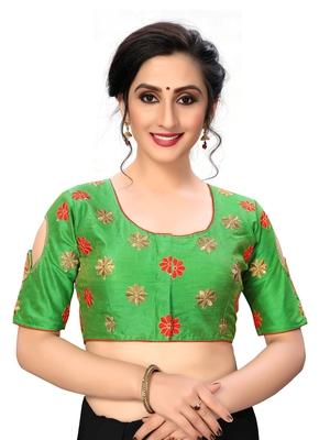 Green Women's Embroiderey santoon Silk Blouse