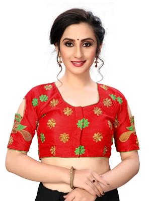Red Women's Embroiderey santoon Silk Blouse