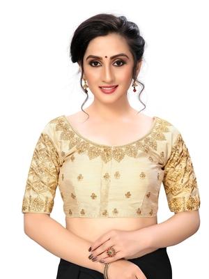 Cream Women'S Embroiderey Santoon Silk Blouse