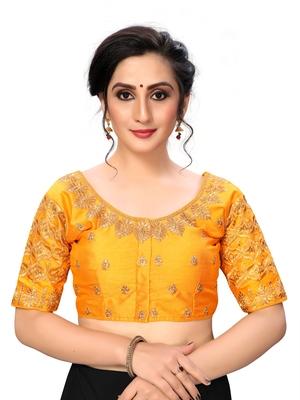 Yellow Women's Embroiderey santoon Silk Blouse