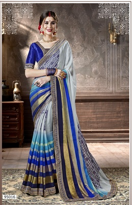 grey printed viscose rayon saree with blouse