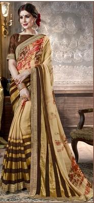 brown printed viscose rayon saree with blouse