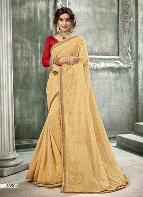gold woven georgette saree with blouse