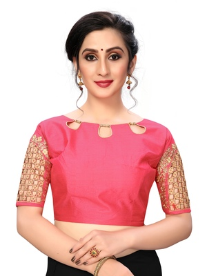 Pink Women'S Embroiderey Santoon Silk Blouse