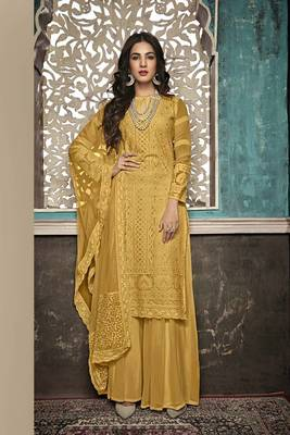 MUSTARD EMBROIDERED FAUX GEORGETTE SALWAR SEMI STITCHED