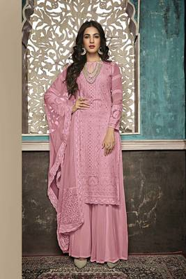 PINK EMBROIDERED FAUX GEORGETTE SALWAR SEMI STITCHED