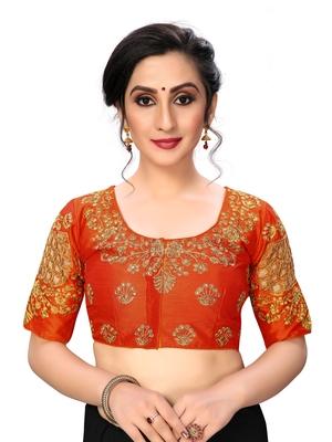 Orange Women's Embroiderey santoon Silk Blouse