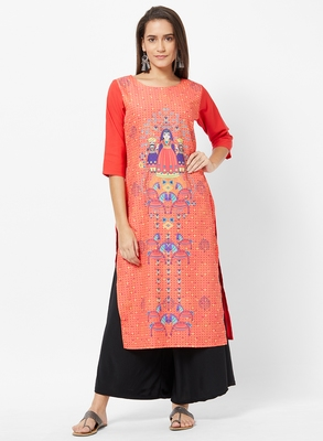 Orange Printed Crepe Kurti