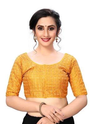 Yellow Women'S Embroiderey Santoon Silk Blouse