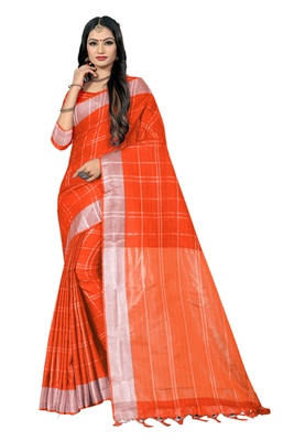 Rust woven linen saree with blouse