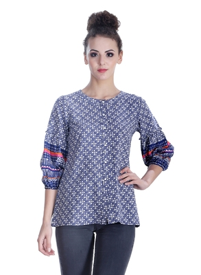 Blue printed cotton party-tops