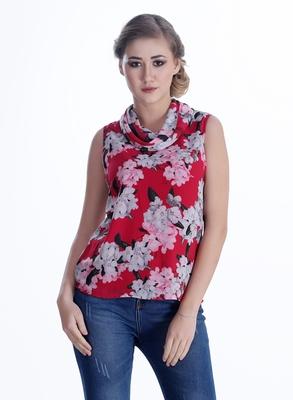 Pink printed georgette sleeveless-tops