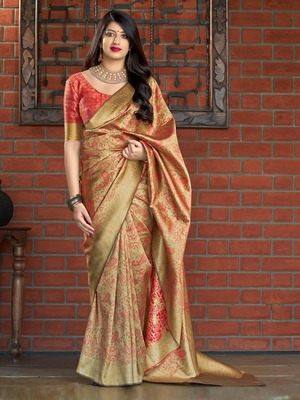 Beige woven banarasi silk saree with blouse