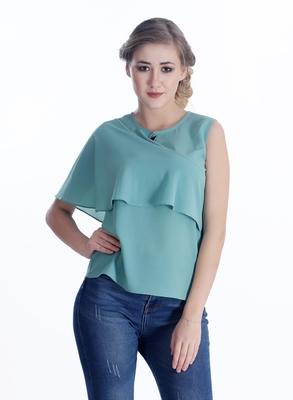 Green plain georgette sleeveless-tops
