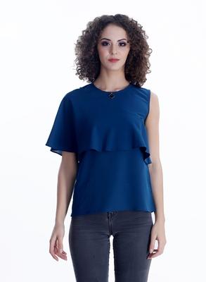 Blue plain georgette sleeveless-tops