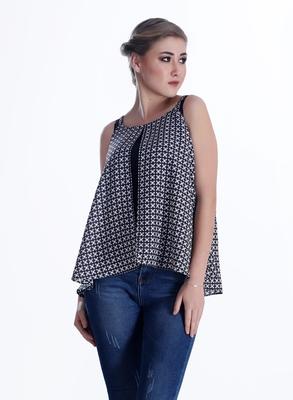 Black printed georgette sleeveless-tops