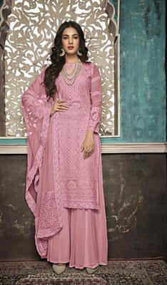 Dark-hot-pink embroidered georgette salwar