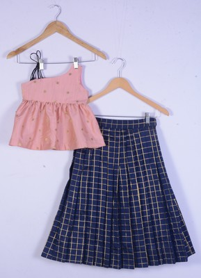 girl pink blouse and blue lahenga for kids