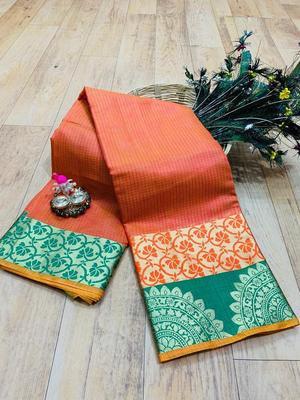 Women'S Designer Peach Banarasi Kanjivaram Saree With Designer Blouse