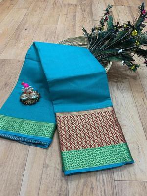 Women'S Designer Turquoise Banarasi Kanjivaram Saree With Designer Blouse
