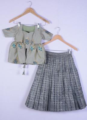 girl brocade sea green with grey colour  lahenga choli