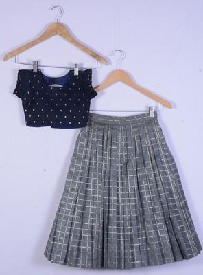 Girl Blue And Grey Lahenga Choli Set