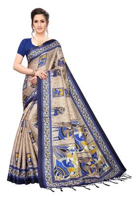 Dark blue printed khadi saree with blouse