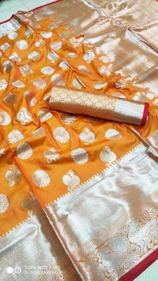 WOMEN'S DESIGNER ORANGE BANARASI KANJIVARAM SAREE WITH DESIGNER BLOUSE