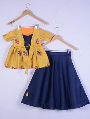 girl yellow amd blue cotton silk lahenga choli set