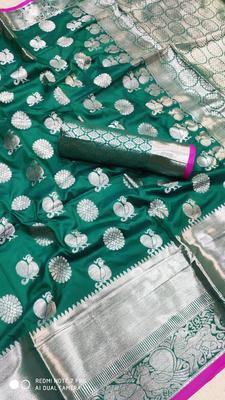 Women'S Designer Green  Banarasi Kanjivaram Saree With Designer Blouse