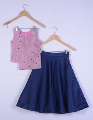 girl cotton silk pink with blue lahenga choli set