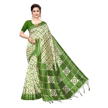 Green printed khadi saree with blouse
