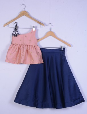kids pink top and blue lahenga choli for girl