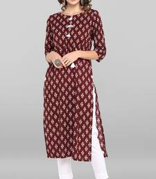 Maroon printed cotton ethnic-kurtis