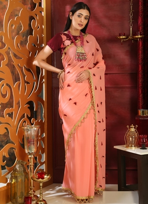 Pink brasso georgette saree with blouse