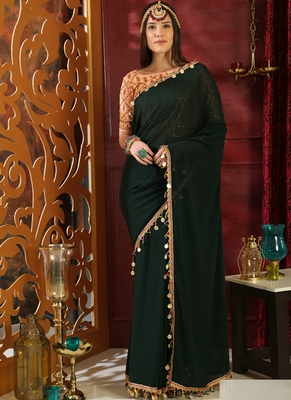 Green brasso georgette saree with blouse