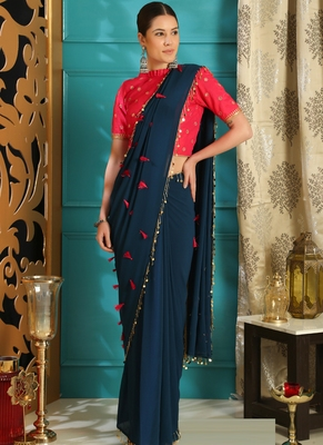 Blue brasso georgette saree with blouse
