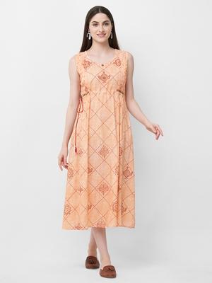 Peach printed rayon ethnic-kurtis