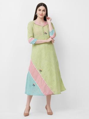Green printed linen ethnic-kurtis