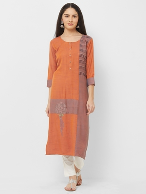 Orange plain rayon ethnic-kurtis