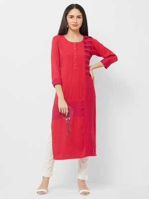 Red plain rayon ethnic-kurtis