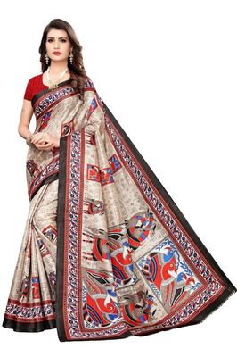 Black Printed Silk blned Saree With Blouse