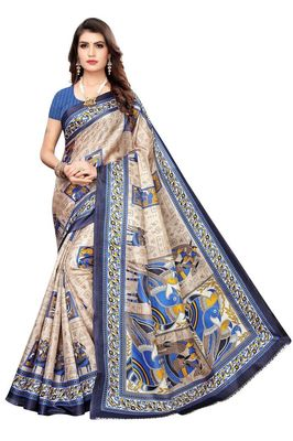 Navy Printed Silk blend Saree With Blouse