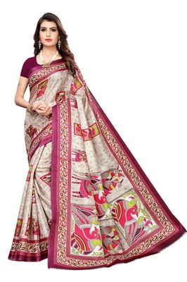 Wine Printed Silk blned Saree With Blouse