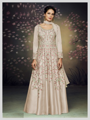 Beige embroidered silk salwar
